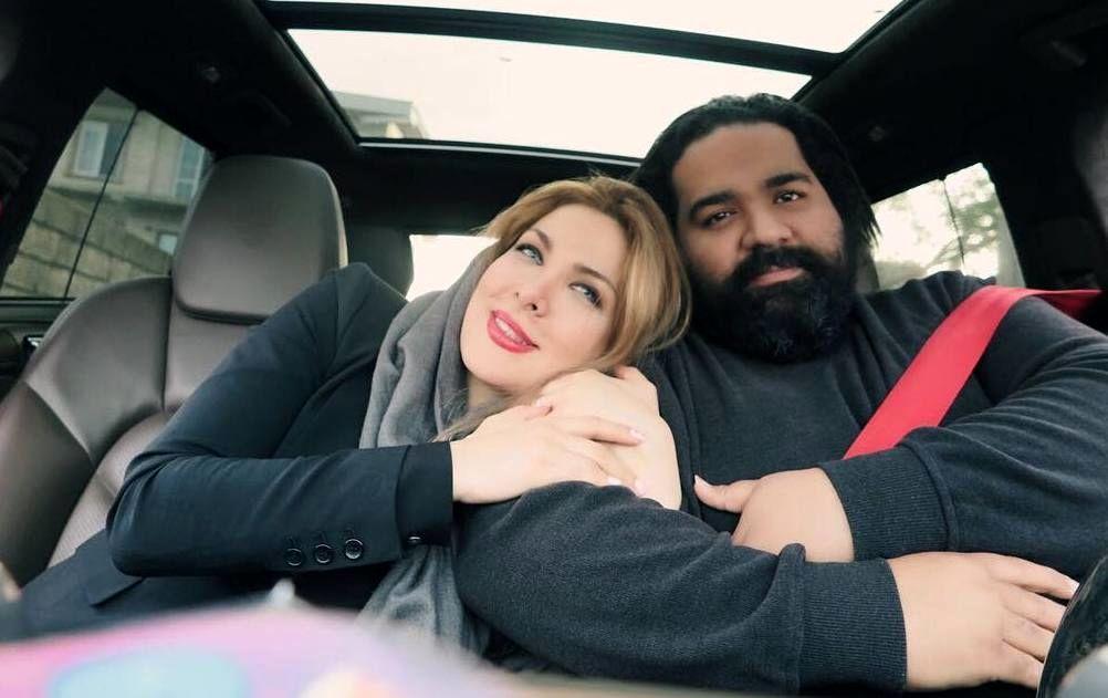 عکس عاشقانه رضاصادقی و همسرش در آغوش هم
