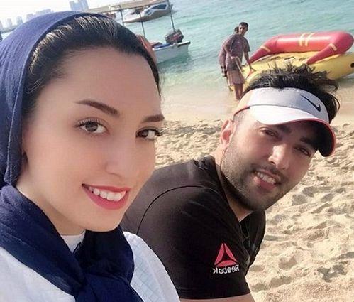 جدیدترین عکس بی حجاب کیمیا علیزاده و همسرش