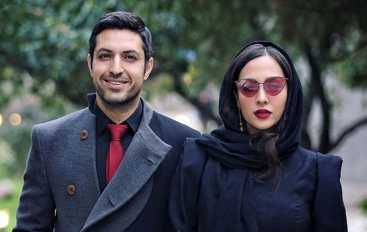 عکس عاشقانه اشکان خطیبی و عروس سابق علی پروین   جشن تولد اشکان خطیبی در پشت صحنه خاتون